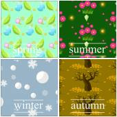 Vector 4 seasons seamless pattern backgrounds — Stock Vector