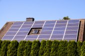 Green Renewable Energy with Photovoltaic Panels — Stock Photo
