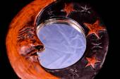Vintage Wooden Handmade Mirror with Moon and Stars — Stock Photo