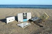 Vinatge Radio on the Beach — Foto Stock