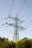 Torre da transmissão de alta tensão elétrica — Fotografia Stock