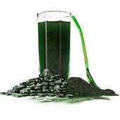 Spirulina algae powder glass drink — Stock Photo