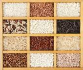Rice in box — Stock Photo