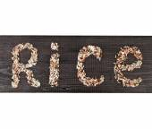Word 'rice' written of rice — Foto Stock
