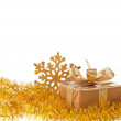 Snowflake holiday decoration with gift box — Stock Photo #60353541