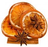 Sliced Orange with anise and cinnamon — Stock Photo