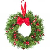 Evergreen Christmas wreath — Stock Photo