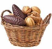 Wicker Basket with cookies — Stock Photo