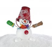 Christmas holiday snowman — Stock Photo