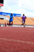 Running track for the athletes background — Stock Photo