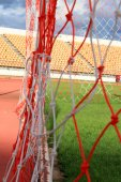 Zblízka fotbalové sítě cíl fotbal — Stock fotografie
