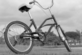 Bicycle on green grass — Stock Photo