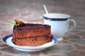 Chocolate cake and coffee. — Stock Photo