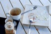 Empty plate of cake — Stock Photo