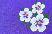 Paintings of flowers on purple background. — Stock Photo