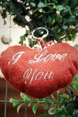 Czerwone serce na drzewo na Walentynki — Zdjęcie stockowe