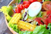 Vegetables salad eggs with mayonnaise — Stock Photo