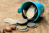 Thailand bath coins on a wooden vintage — Stock Photo