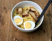 Pork noodle and boiled eggs - Japanese food — Stock Photo