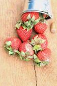 Strawberry rotten on wood vintage — Stock Photo