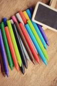 Wax crayons on wood vintage — Stock Photo