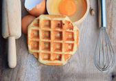 Tasty sweet waffle with red bean — Stock Photo