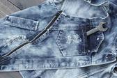 Outils et fond jeans vintage — Photo