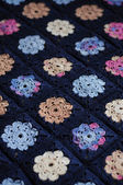 Granny square flower blanket — Stock Photo