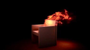 Burning armchair — Stock Video