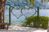 Love oath - grid hearts with nature background — Stock Photo