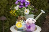 Easter Arrangement with Eggs and Bunnies — Stock Photo