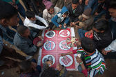 Gambling during Maggy fairground in Nepal — Stock Photo