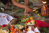 Offering during hindu puja in Nepal — Foto Stock