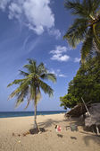 Paradise beach with fisherman hut — Stock Photo