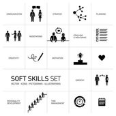 Soft skills icons set — Stock Vector