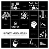 Mental issues icons set — Stock Vector