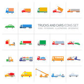 Vector trucks and cars icons set — Stock Vector