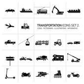 Transportation icons set black on white background — Vettoriale Stock