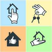 Real estate gesture icons set — Stock Vector