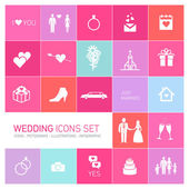 Svatební sada ikon — Stock vektor