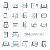 Tablet and gestures icons set — Stock Vector
