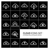 Bulut bilgisayar simgeler kümesi — Stok Vektör