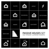 Passive houses icons — Stock Vector