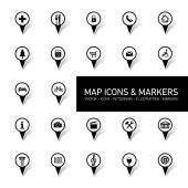 Map icons and markers — Stock Vector