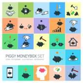 Piggy moneybox icons set — Stock Vector