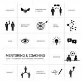 Coaching icons set — Stock Vector