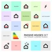 Passive houses icon set — Stock Vector