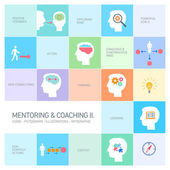 Mentoring and coaching icons — Stock Vector