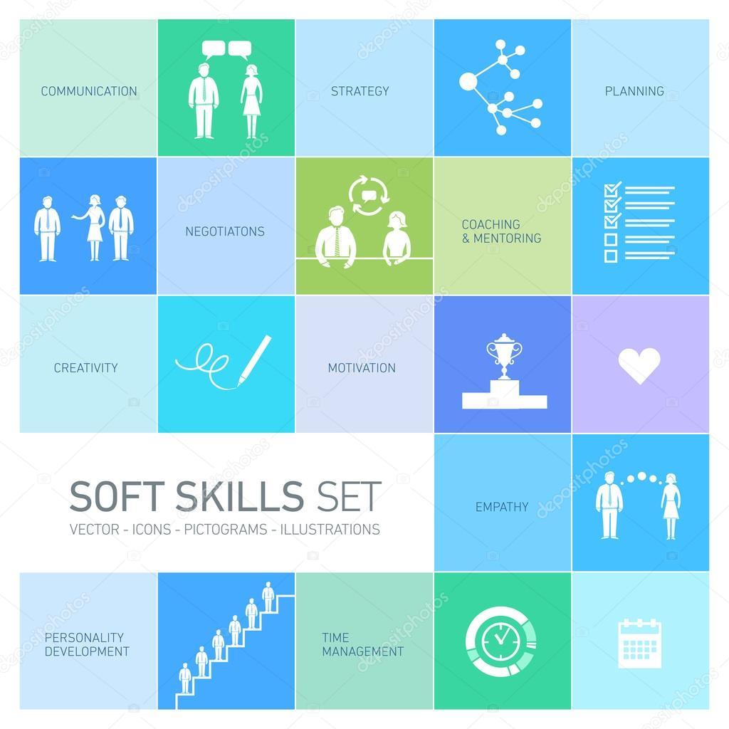 soft skills icons set stock vector copy honzahruby  soft skills icons set stock vector 68580225