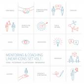 Mentoring and coaching linear icons — Stock Vector